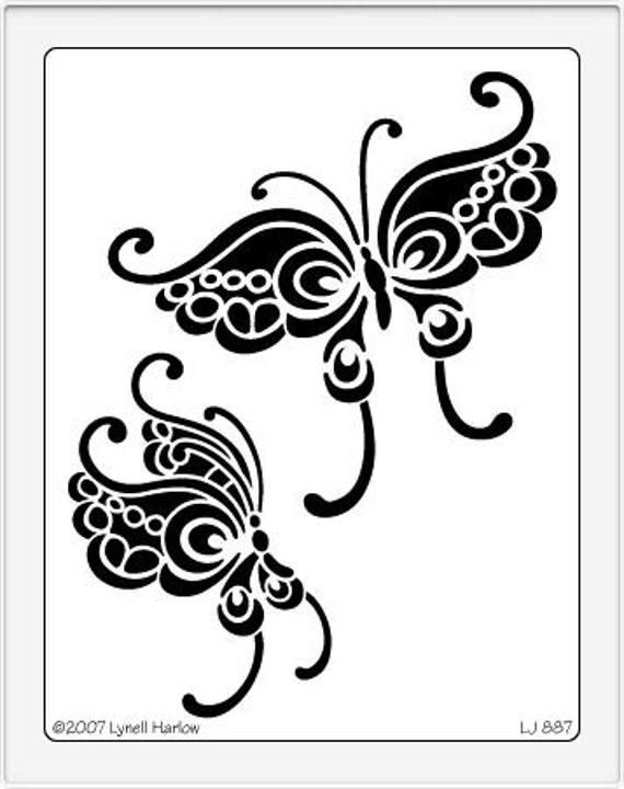 butterfly stencil lj887. Black Bedroom Furniture Sets. Home Design Ideas
