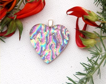 Fused dichroic glass heart pendant, pink