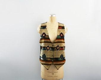 vintage 80s Southwest Tapestry & Leather Ladies Button Down Vest // Autumnal Layering Piece