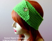 CROCHET PATTERN PDF - Instant Digital Download - Mean Green Button Headband / Earwarmer pattern - women - teen - fall - winter