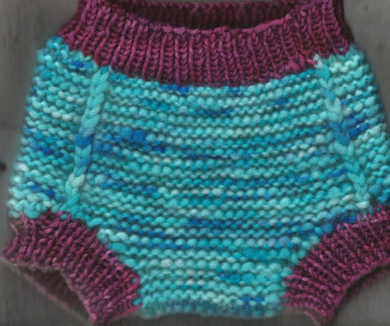 Knit Wool Soaker Pattern : Monster Blue Hand Knit Dyed Wool Soaker Diaper Cover 6-18