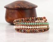 Boho Wrap Bracelet Caramel Leather Wrap Boho Jewelry Copper 4x Wrap Bohemian Jewelry Aqua Green Cream Brown Gemstone Bracelet Skinny Wrap