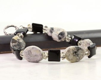 Black Onyx Bracelet / Silver Leaf Jasper / Gray Chunky Bracelet / Gemstone Jewelry / Toggle Clasp Bracelet / Black Marbled / Gift for Her