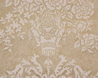 1940s Antique Vintage Wallpaper Victorian Textured Raised Roses and Scrolls on Beige by the Yard--Made in England