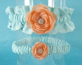 Mint and Peach Rose Wedding Garter Set G026 - bridal garter accessory