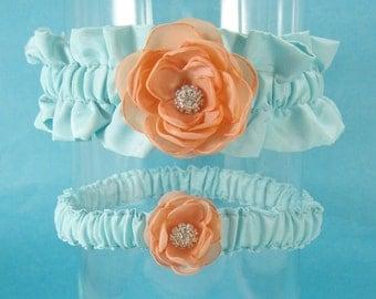 Mint and Peach Rose Wedding Garter Set H150 - bridal garter accessory