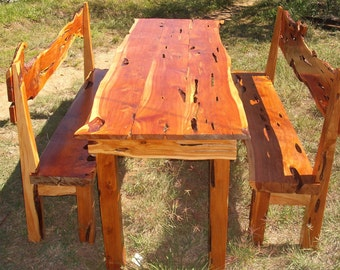 Cedar Dining Table with benches indoors or out