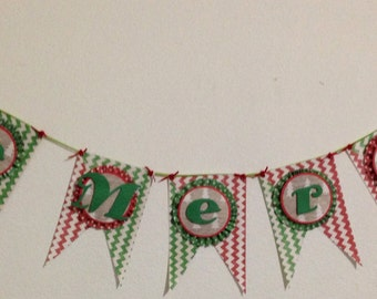 Christmas Banner, Be Merry, bunting, Chevron, rustic