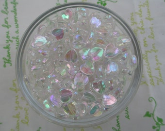 New item Tiny Shiny Heart beads 50pcs 9mm AB Milky white