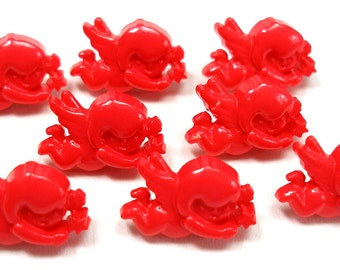 8 Cupid BUTTONS, Red plastic with Eros design.