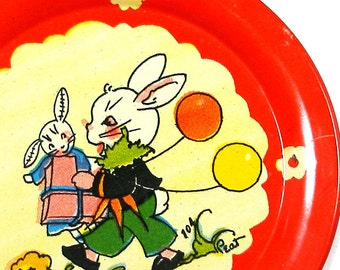 40s Tin litho Toy Tea Plate, BUNNY Birthday, by Ohio Art. Rabbit with presents.