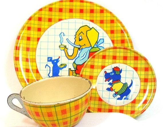 30s Tin Toy Tea Setting, Scottie dog, mouse & elephant by J. Chein Co.
