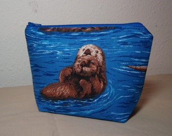 Sea Otters Zipper Cosmetic Pouch