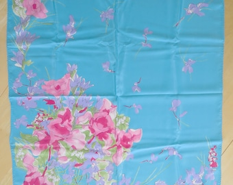 Vera Scarf Blue with Pink Purple Flowers