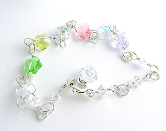 Pastel Colors Hand Made Sterling Silver and Swarovski Crystal Flower Elements Bracelet/Anklet 8.75 Inches