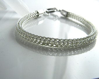 In Stock - 7 inch Sterling Trichinopoly Slave Bracelet with Surgical Stainless steel Captive Segment Clasp