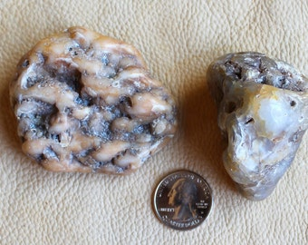 Pair of large tumbled Oregon beach agates for crafts, jewelry and more 8oz