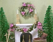 1:12 Dollhouse Miniatures Wreath Swag Garland Christmas Purple Pearls Inch