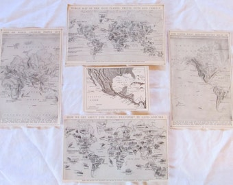 "WORLD POPULATIONS  -  antique prints --  from ""Book of Knowledge"" 1912 (5 pages)"