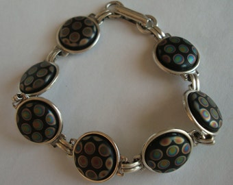 Unique Peacock Bracelet Jewelry, Unique Glass Cabochon Bracelet, Gorgeous Iridescent Hand Worked Glass, Custom Handmade,