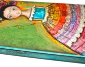 Frida -  Giclee print mounted on Wood (3 x 6 inches) Folk Art  by FLOR LARIOS
