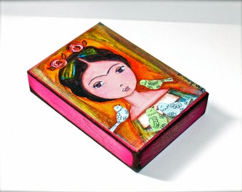 Frida with Birds - Giclee print mounted on Wood (5 x 7 inches) Folk Art  by FLOR LARIOS