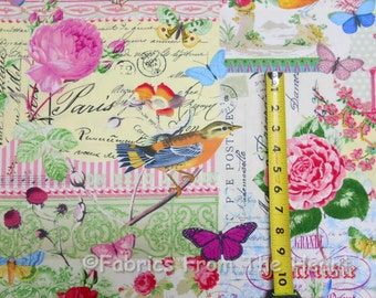 Menagerie Collage Birds Flowers Butterflys BY YARDS Michael Miller Cotton fabric