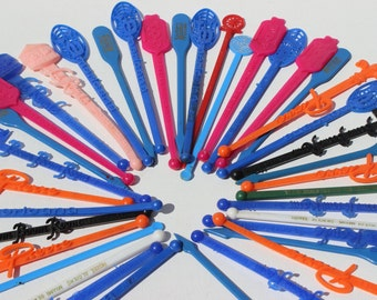 Vintage Swizzle Stick Instant Collection Boom Boom Room Vintage Hotel and Bar Barware Man Cave Decor Colorful Plastic Swizzle Sticks