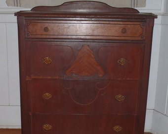 Vintage Art Deco Solid Wood Mahogany Tall Boy Dresser Bureau