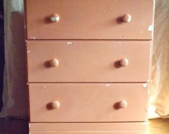 Vintage 3 Drawer Shabby Pink Wood Dresser