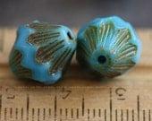 last ones .. sale .. SKY LOVE .. 6 Premium Picasso Czech Glass Baroque Bicone Beads 13x11mm (4045-6)