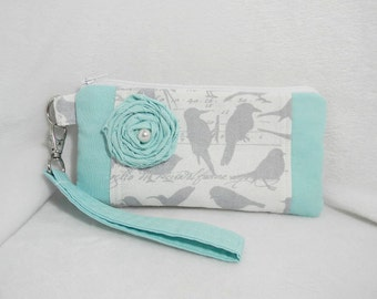 Aqua and Gray Wristlet with Fabric Flower  and Detachable Strap