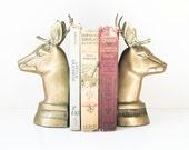Deer Bookends - Vintage Solid Brass - Reindeer