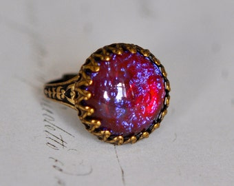Dragon's Breath Opal Ring - Big Vintage glass opal - adjustable Statement ring