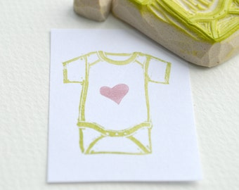 baby onesie stamp with heart, hand carved rubber stamps, handmade rubber stamp set