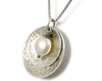 Silver Disc Necklace, Ivory Pearl Necklace, Pendant Necklace,  Eco Friendly Jewelry Gifts for Her