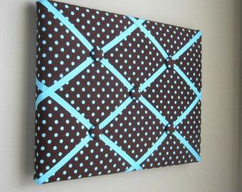"11""x14"" Memory Board Bow Holder Ribbon Board Brown & Aqua Polka Dot"
