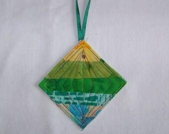 Scrappy Batik Quilted Ornament #2