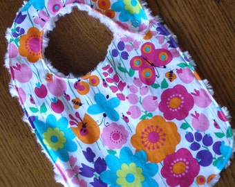 Bright Butterfly, Ladybug and  Flower Minky Baby/Toddler Bib