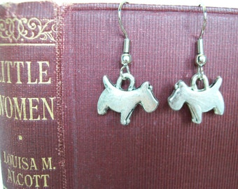 Mini Scottie Dog Earrings! Scottish Terrier, Dog Charm Dangle Earrings, Puppy Dog Jewelry. Miniature Scotty Earrings for Dog Lovers.