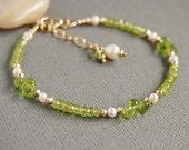 Peridot Bracelet, Green Breaded Bracelet, Freshwater Pearl, August Birthstone,14kt Gold Filled - PURITY