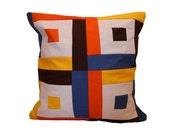 Mondrian A Pillow / Modern Quilt Pillow / Color Block Pillow / Mid Century Inspired Pillow / Home Decor