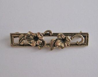Vintage Avon brass floral bar pin
