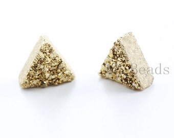 2 Pieces AAA 24K Gold Coated Drusy Quartz Cabochons-Triangle 8x8mm