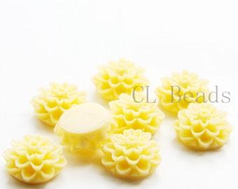 8pcs Acrylic Flower Cabochons- Yellow 15mm (65F3)
