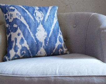 Designer Blue Ikat Linen Throw Accent Pillow Travers Pondicherry