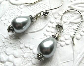 Grey Teardrop Pearl Earrings on Sterling Silver,  Silver Grey Teardrop Pearls on Sterling Earrings