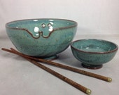 Reserved listing for Danielle - set of 2 Noodle/Rice Bowl with sauce bowl in turquoise with Chopsticks