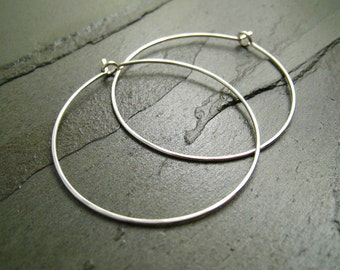 Sterling Silver Earrings - 1.5 Inch Medium Hoop - Hammered - Thin and Dainty - Simple Modern Minimal Wire Jewelry
