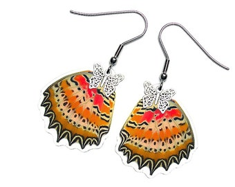 Real Butterfly Wing Earrings (Cethosia biblis Hindwing - E057)